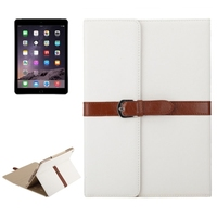 Cheap Price 3 Folding Flip Leather Leather Case for iPad Air 2 with Holder and Buckle
