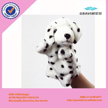 Lovely and cute animal style hand puppet dog shaped plush stuffed hand puppet