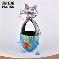 Wholesale handmade cute animal shaped wrought iron flower basket