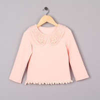 New Fashion Girl Flower T Shirt Pink Color Toddle TShirts For Children Wear GT41015-08