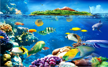 Sofa background seaworld picture 3d stone wall tile