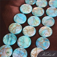 Turquoise 14mm round flat chunkey necklace mother of pearl