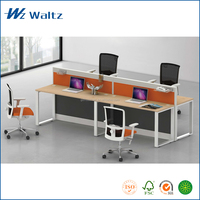 Cheap price E0 grade steel leg MFC furniture office call center I shape office desk