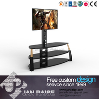 Cheap modern latest design black glass tv stand