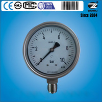 "4"" stainless steel dry 10 bar bourdon tube pressure gauge export to Germany"