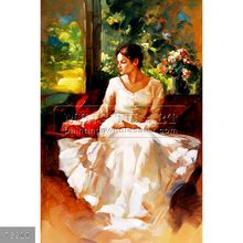 100% Handmade impressionist beautiful girl oil painting oils on canvas, Portrait of a Seated Woman(1)