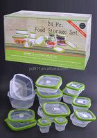 24 Psc PP Food Storage , plastic food lock storage container set , insulated food server set