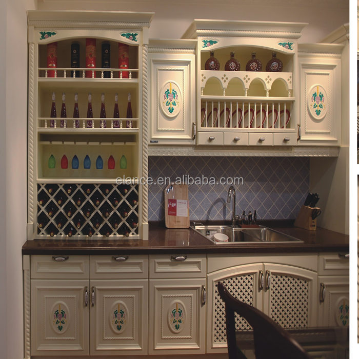 Cheap melamine kitchen cabinet with solid wood door buy for Cheap solid wood kitchen cabinets