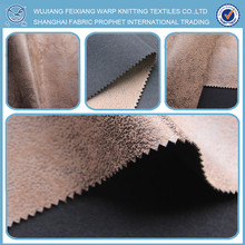 High quality 100% polyester faux leather bronzed knitted suede sofa fabric, faux fur throws for sofas