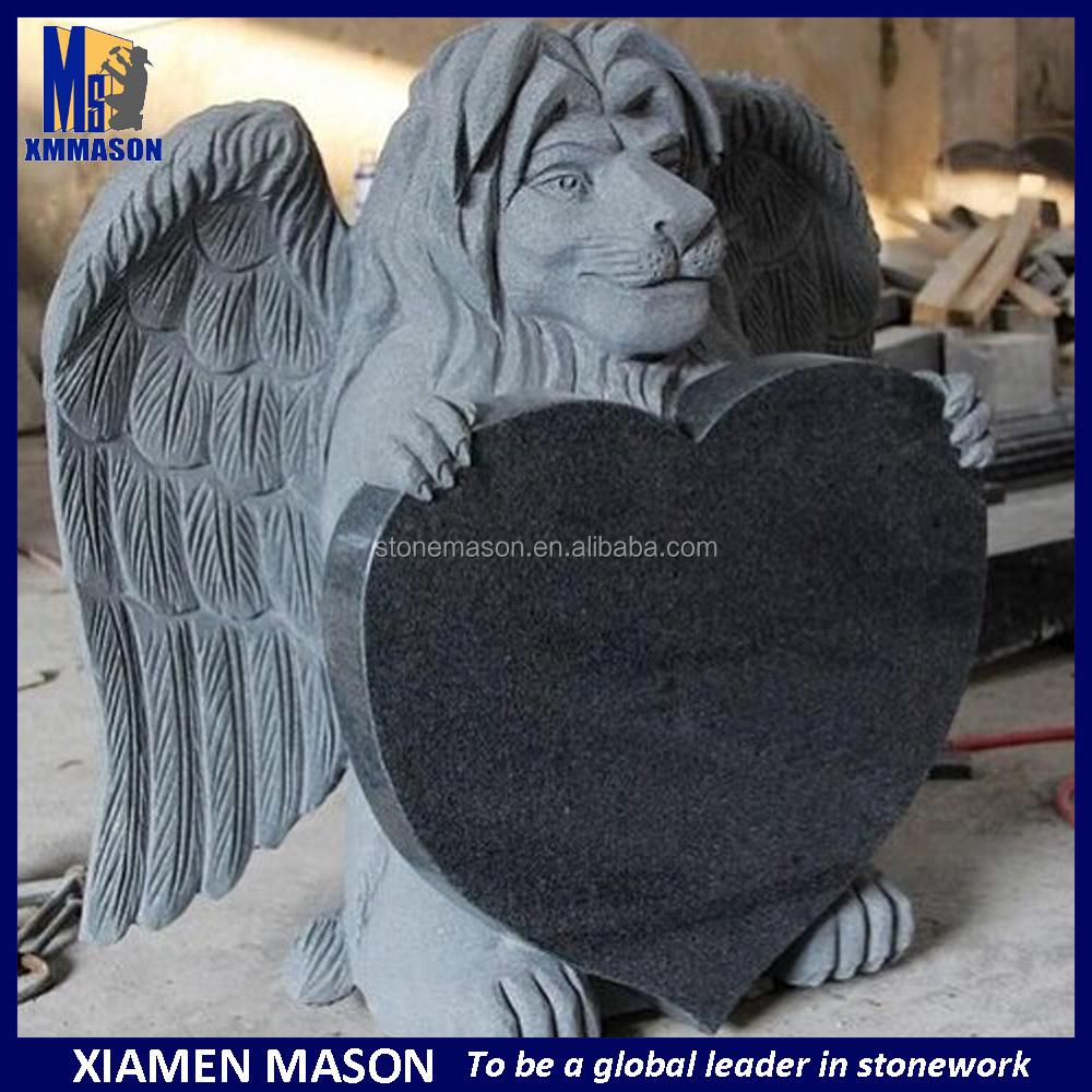 Al por mayor para mascotas lápidas ángel con el corazón en forma de monumentos del cementerio