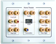 WHITE TRIPLE GANG WALL PLATE HOME THEATER HDTV 7- BANANA JACKS AUDIO1-HDMI 2-RCA 1-Subwoofer