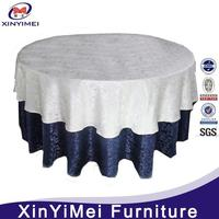 2014 hot sale luxury high quality decorative round cotton blend table coth