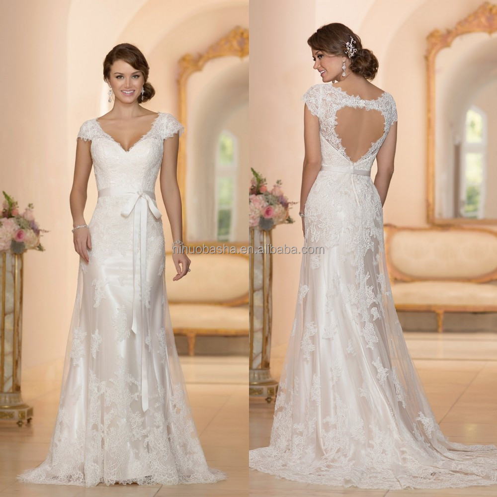 Beautiful Alibaba A-line Wedding Dress 2015 Custom Made V-neck Cap ...