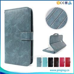 Wholesale Crystal crazy horse grain photo frame card slot case for wallet case for Kazam Thunder 2 4.5 leather case