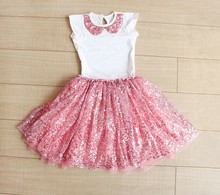 Wholesale baby clothing baby girl princess sequins skirts+top t shirts 2pcs set
