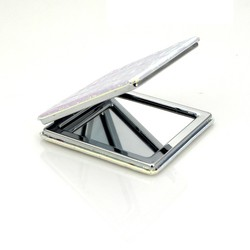 white square shaped metal compact mirror