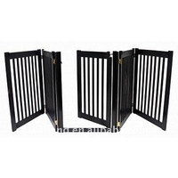 Folding Walk Through 4 Panel Wood Pet Gate/ Safety dog fence (32H, 108W) -E