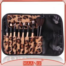 8PCS Makeup Foundation Powder Blush Eye shadow brow Pro Brush leopard pouch set