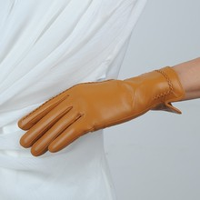 Fashion dress winter ladies hand gloves cheap women plain style leather gloves