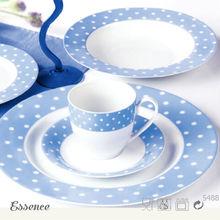 New arrived blue and white porcelain polka dot dinnerware