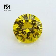 Golden Yellow Top Shining Round Diamond Cut Synthetic Cubic Zirconia Gemstone