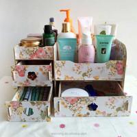 DIY manual 3 drawer cosmetic boxes Creative desktop boxes Wooden bin bin jewellery hanger rack shelf toilet case Dresser receive