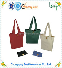 Eco-friendly cheap price foldable cotton canvas bag tote bag promotional bag with fastener