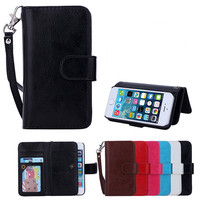 HOT wallet case for iphone 5, leather case for iphone 5 with credit card slot and stand.