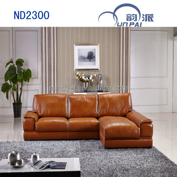 Shop Yellow Genuine Leather Sofa Set: Genuine Leather Leisure Sofa In Yellow Color 2014(nd2300