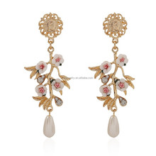 The Exaggerated Alloy Leaves Flowers Pearl Earrings