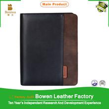 BOWEN - 0008 new design leather 3 ring binder portfolio / presentation leather ring binder / leather cover agendas 2015