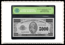Silver Money American $5000 Dollars Carved In 24k Gold Banknote With Plastic Ornament Holder