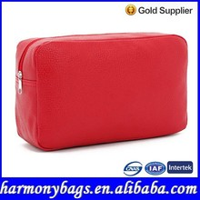 Casual design red PVC leather cosmetic bag for women