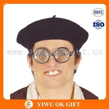 Cheap black felt disposable painter cap, black round top hat, round fedora hat
