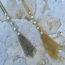 Fashion crystal Necklace metal tassel crystal gold&sliver metal alloy thin chain necklace