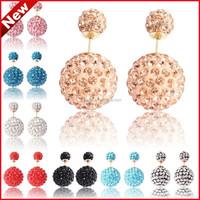 2015 New Double Beads Shamballa Earrings Bling Earring Studs Wholesale