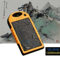 Dual USB 12000MAh External Battery Charger Solar Power Bank Pack Charger