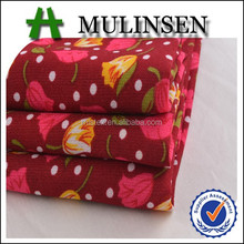 2015 Hot Sale 100% Polyester Red and Yellow Flower Print Wool Peach Fabric