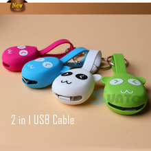 Cartoon Mini 2 in 1 usb charging cable for samsung mobile phone