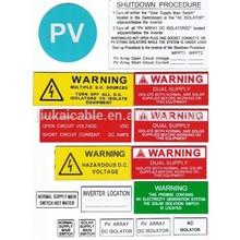 manufacturer price solar label photovoltaic warning kit