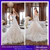 2015 Latest New Fashion Sweetheart Applique Beaded Ruffle Skirt Fantasy Organza Mermaid/Trumpet Long Train Wedding Gown Tie Back