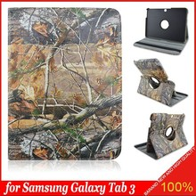 Real Tree Pattern 360 Rotating PU Leather Stand Case Cover For Samsung Galaxy Tab 3\10.1 p5200 p5210