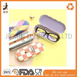 Glasses tin box sun glasses tin case, Wholesale custom rectangle metal glasses tin box with flocking insert