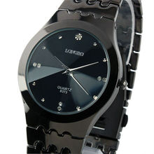 New Mens Unisex Black Strap Classic Value Stainless Steels Black Dial Fashion Quartz Watch WM236