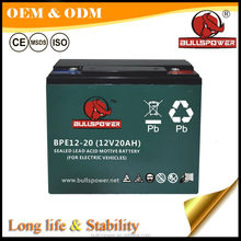 maintenance free 6-DZM-20 12v20ah motive power vrla battery BPE12-20 for electric bikes tricycles motorcycles scooters batteries