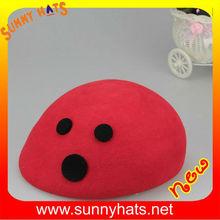 Wholesale Beautiful Girl's Red 100% Wool Felt Beret Cap Decorate Cute Black Dot