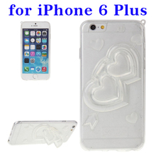 Top selling 3D Love Heart transaprent TPU phone case for iPhone 6 plus with holder