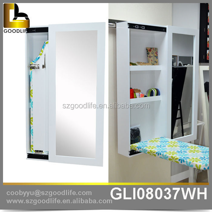 Foldable Wall Mounted Mirrored Sliding Door Ironing Board With Cabinet