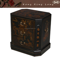 Kong Xing Long Vintage Furniture Hand Painted Oriental Accent End Table Accent
