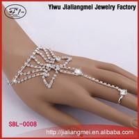 Belly dance rhinestone cuff slave bracelet with ring rhinestone cuff slave bracelet